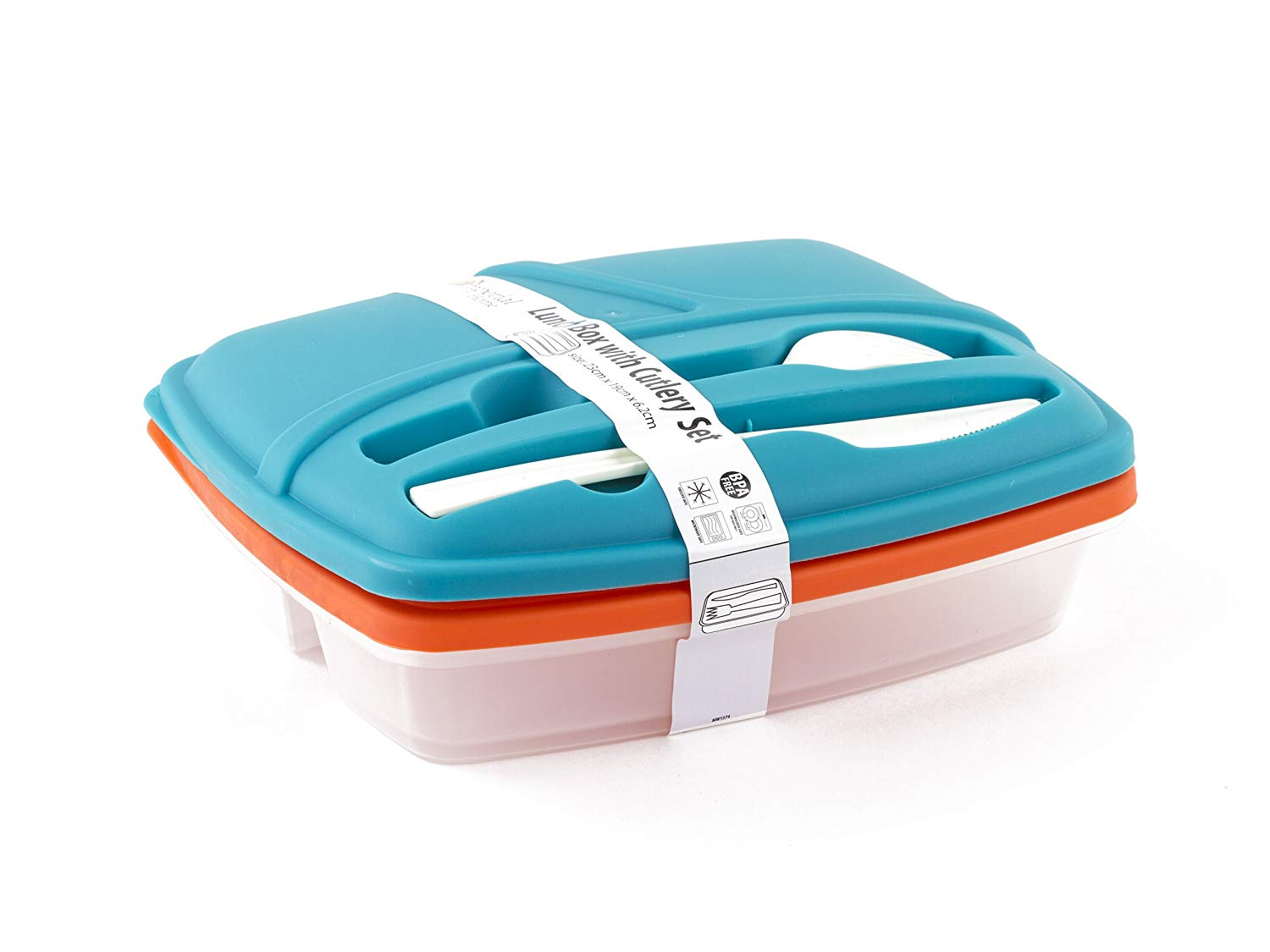 Plastic Bento Lunch Box - Food Storage Containers with Cutlery Set