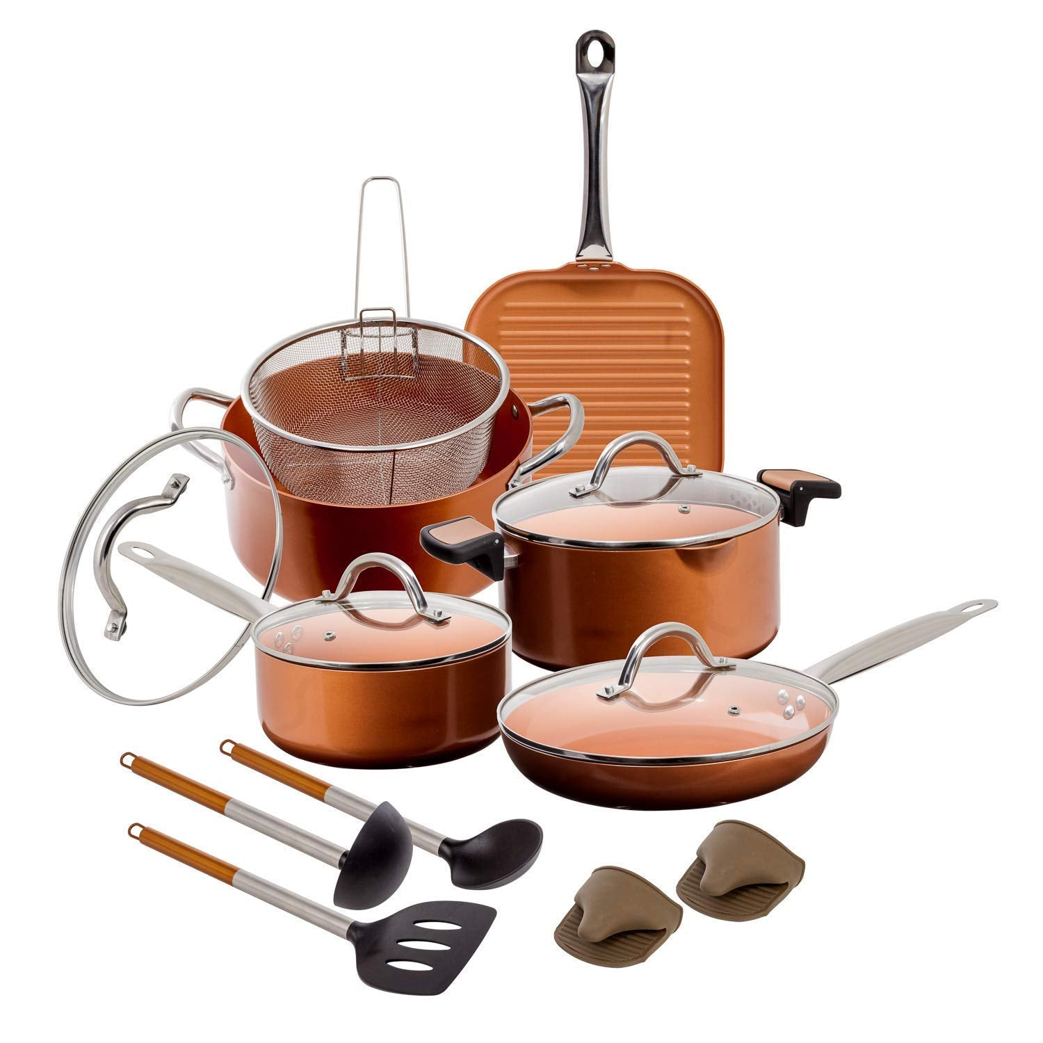 15 pc Copper Aluminum Cookware Set – Copper Nonstick Cookware Sets – Pots and Pans Set with Fryer Insert, Glass Lids, Spatula, Spoon, and more