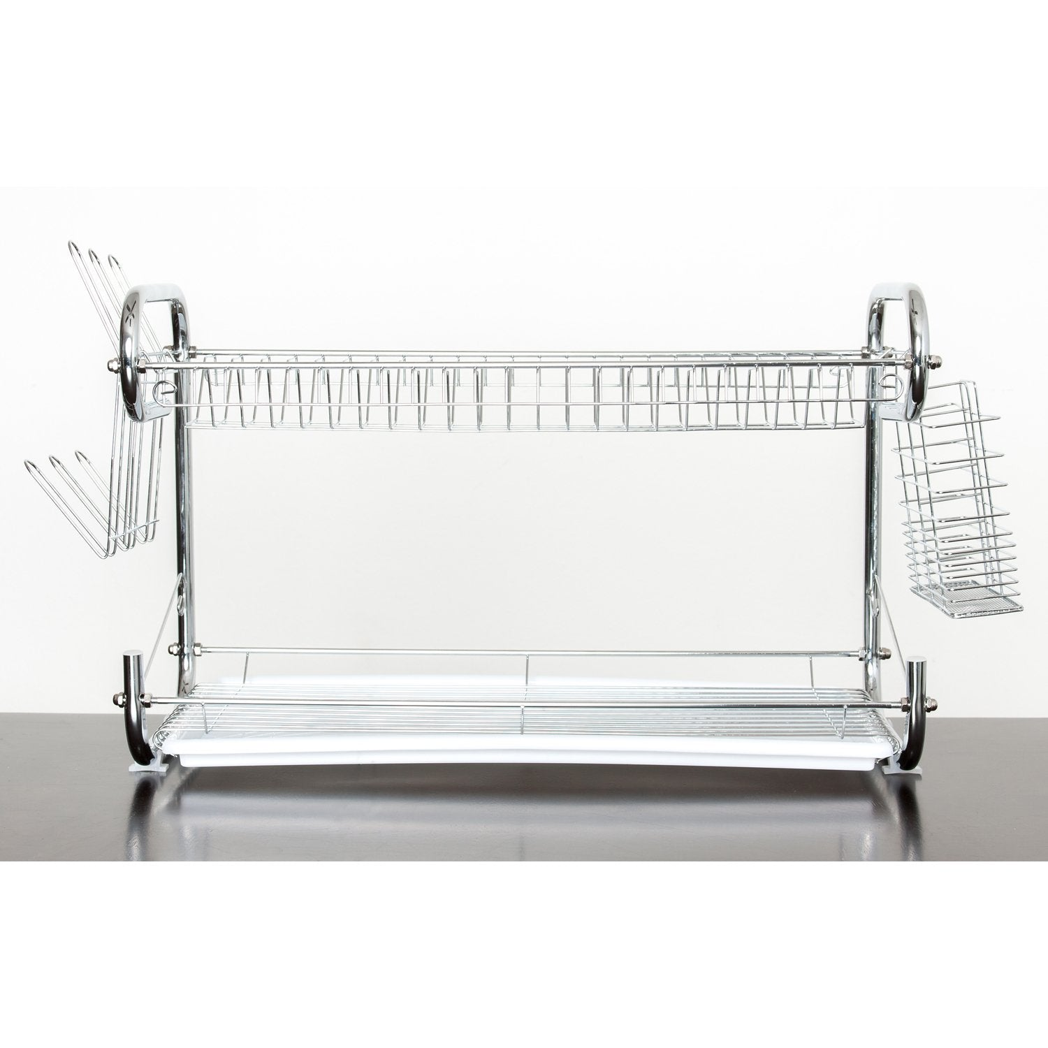 22 Inch Dish Drainer Rack - 2 Tier Dish Holder Dish Rack Organizer – Chrome Plate Dish Drying Rack
