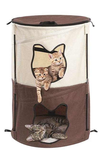 Pop Up Kitty Condo 2 Story Traveling Cat House & Portable Cat House Cat Condo
