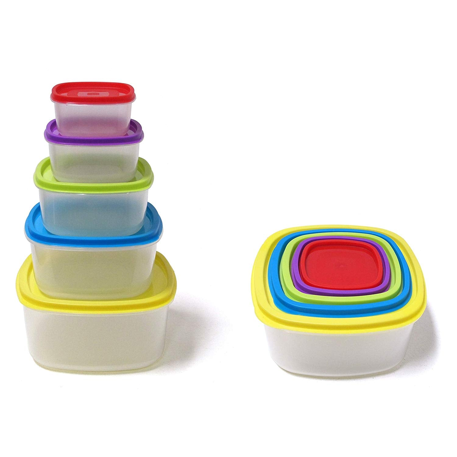 Always Fresh Plastic Food Containers Fiesta Edition Rectangle - 10 pcs Set
