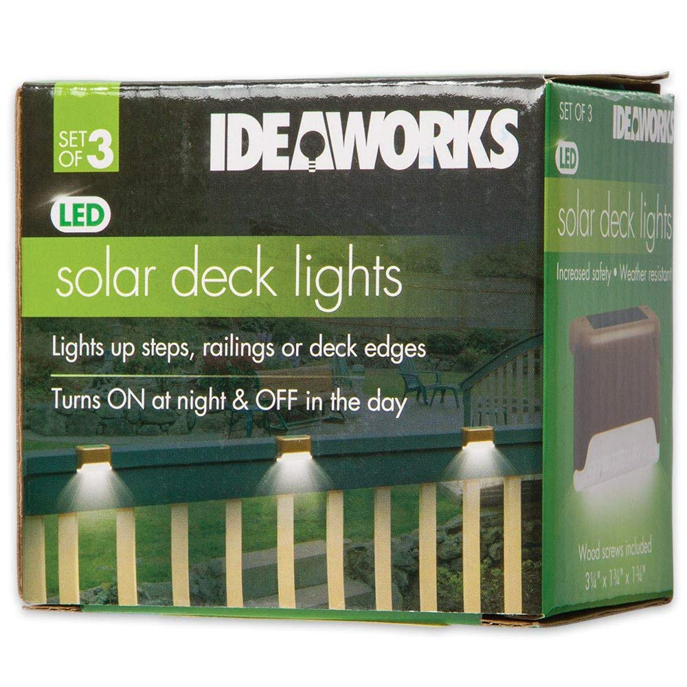 Ideaworks Solar Powered Outdoor Deck Step Lights, 3 Pack, Wall Mount Patio Rail