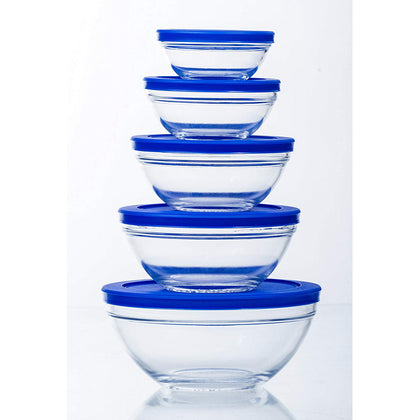 10 Pcs Airtight Glass Bowl Set With Lids BPA Free - (Blue)