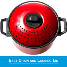 Load image into Gallery viewer, 2 Pc Chef Quality Pasta Pot with Strainer Lid - 6 Qt & 2 Qt Red Stock Pot or Pasta Cooker