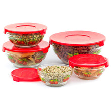 Load image into Gallery viewer, 5 Pcs Nested Glass Mixing Bowls Set With Apple Design and Red Lids - Set of 5 Glass Food Storage Containers