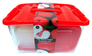 58 Piece Plastic Food Container Set - 29 Plastic Storage Containers with Air Tight Lids Red