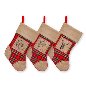 "Large Burlap Classic 3D Christmas Stockings - 18"" Santa Toy Stockings"