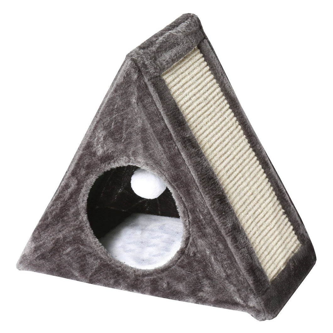 Fold Away Cat Condo with Scratching Pad - Kitty Scratcher with Tunnel