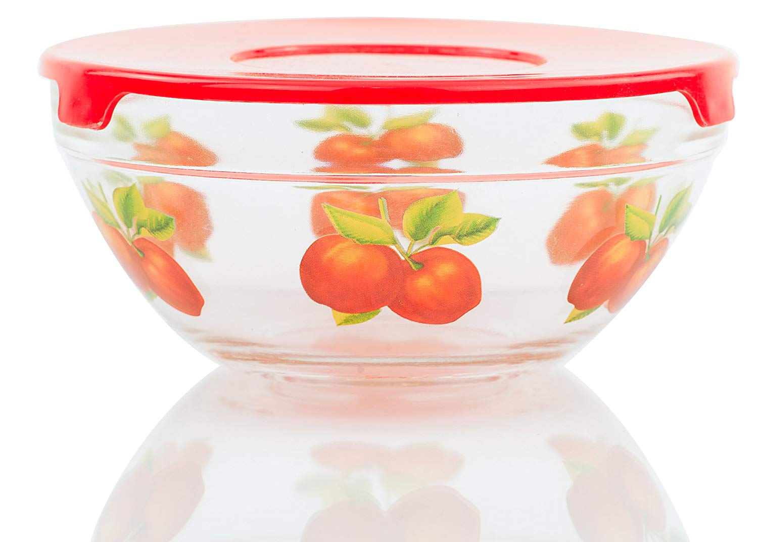5 Pcs Nested Glass Mixing Bowls Set With Apple Design and Red Lids - Set of 5 Glass Food Storage Containers