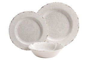 Gibson Studio 114334.12 Mauna 12 Piece Heavy Weight Melamine Dinnerware Set, Ice Rustic