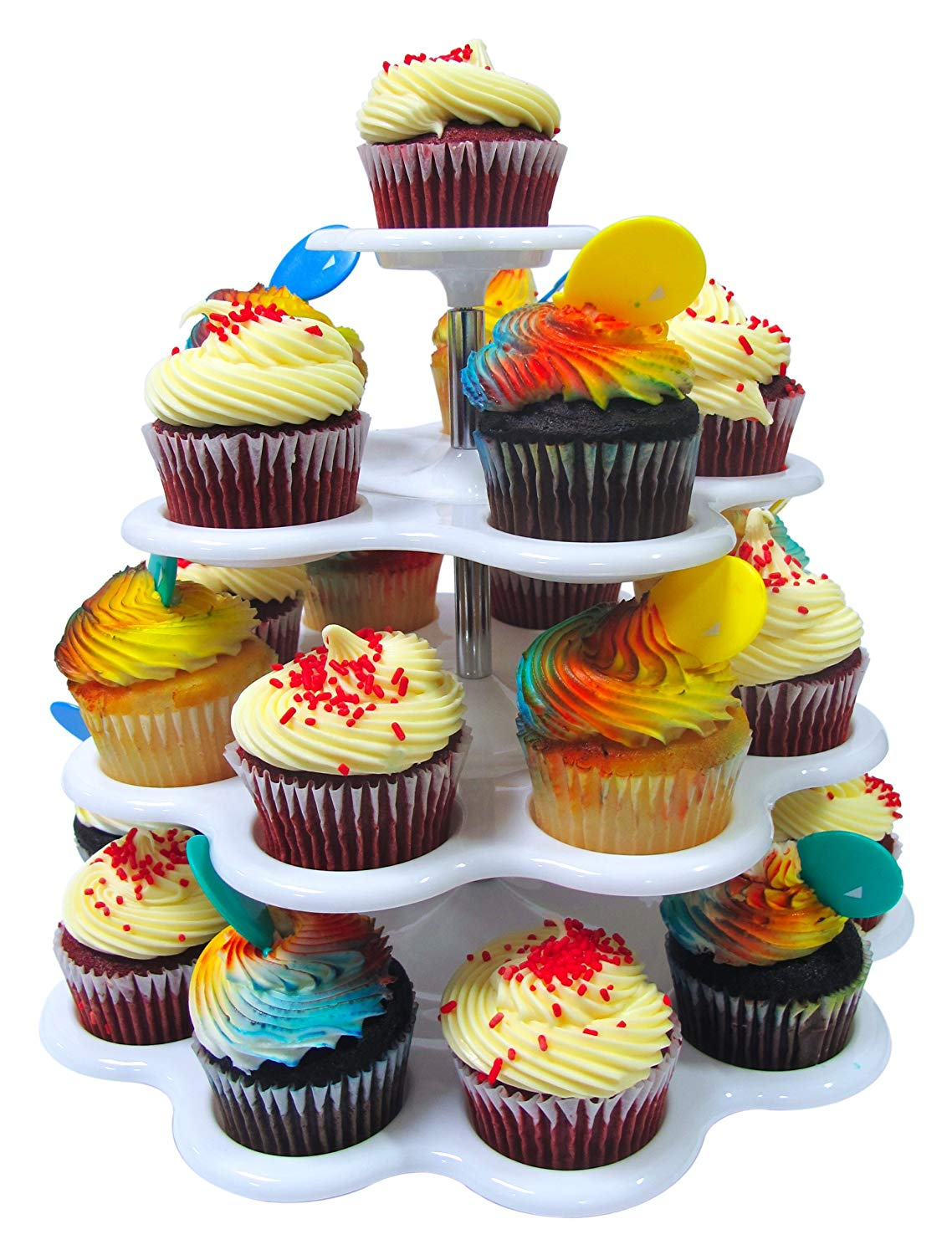 Dessert Cup Cake Stand - 4 Tier Plastic Cupcake Wedding Birthday Party Display