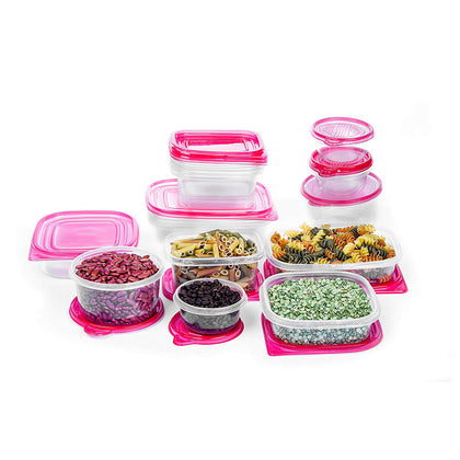 34 Pc Plastic Food Containers Set - 17 Storage Leftovers Container w/ Red Lids