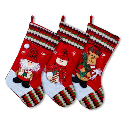 Large Multi-Color Classic 3D Christmas Stockings - 18