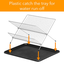 Load image into Gallery viewer, Dish Drying Rack – X Dish Drying Rack - Two Tier Dish Rack and Drainboard Set, Stainless Steel Dry Rack for Dishes with Drip Tray