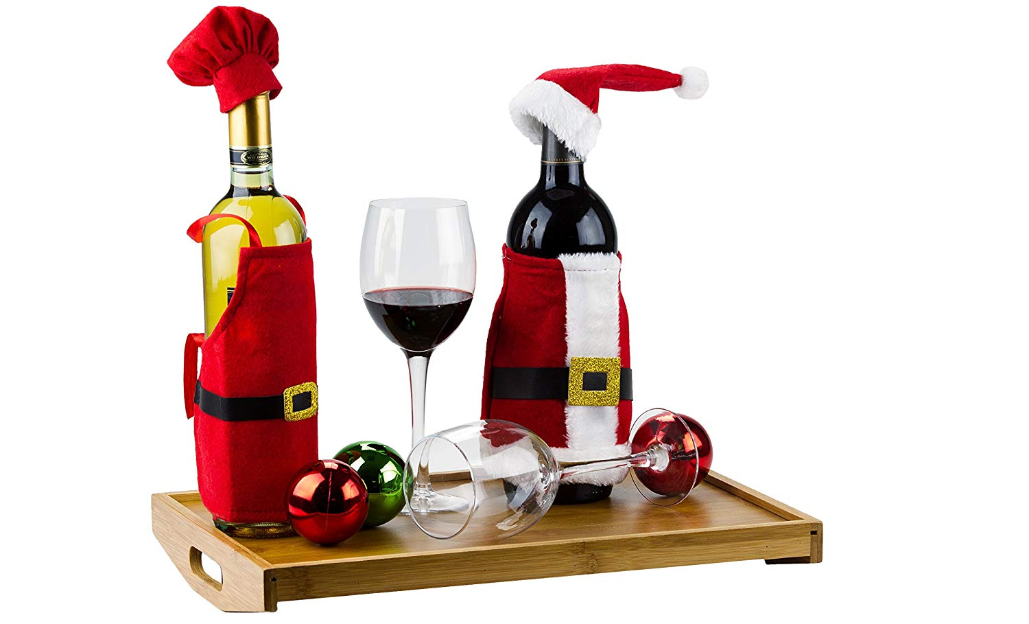 4 Pcs Christmas Wine Bottle Covers Set - Santa and Little Helpers Christmas Wine Decorations