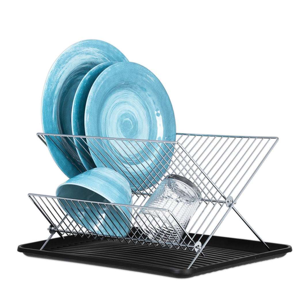 Dish Drying Rack – X Dish Drying Rack - Two Tier Dish Rack and Drainboard Set, Stainless Steel Dry Rack for Dishes with Drip Tray