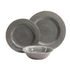 Gibson Studio 114334.12 Mauna 12 Piece Heavy Weight Melamine Dinnerware Set Gray