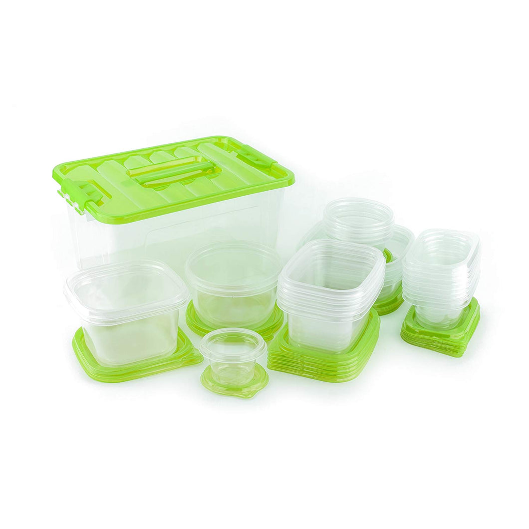 54 Piece Plastic Food Container Set - 27 Plastic Storage Containers with Air Tight Lids (Green)