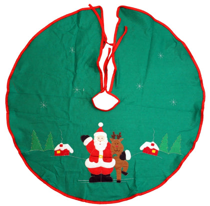 Holiday Christmas Tree Skirts with Green Santa Embellishments