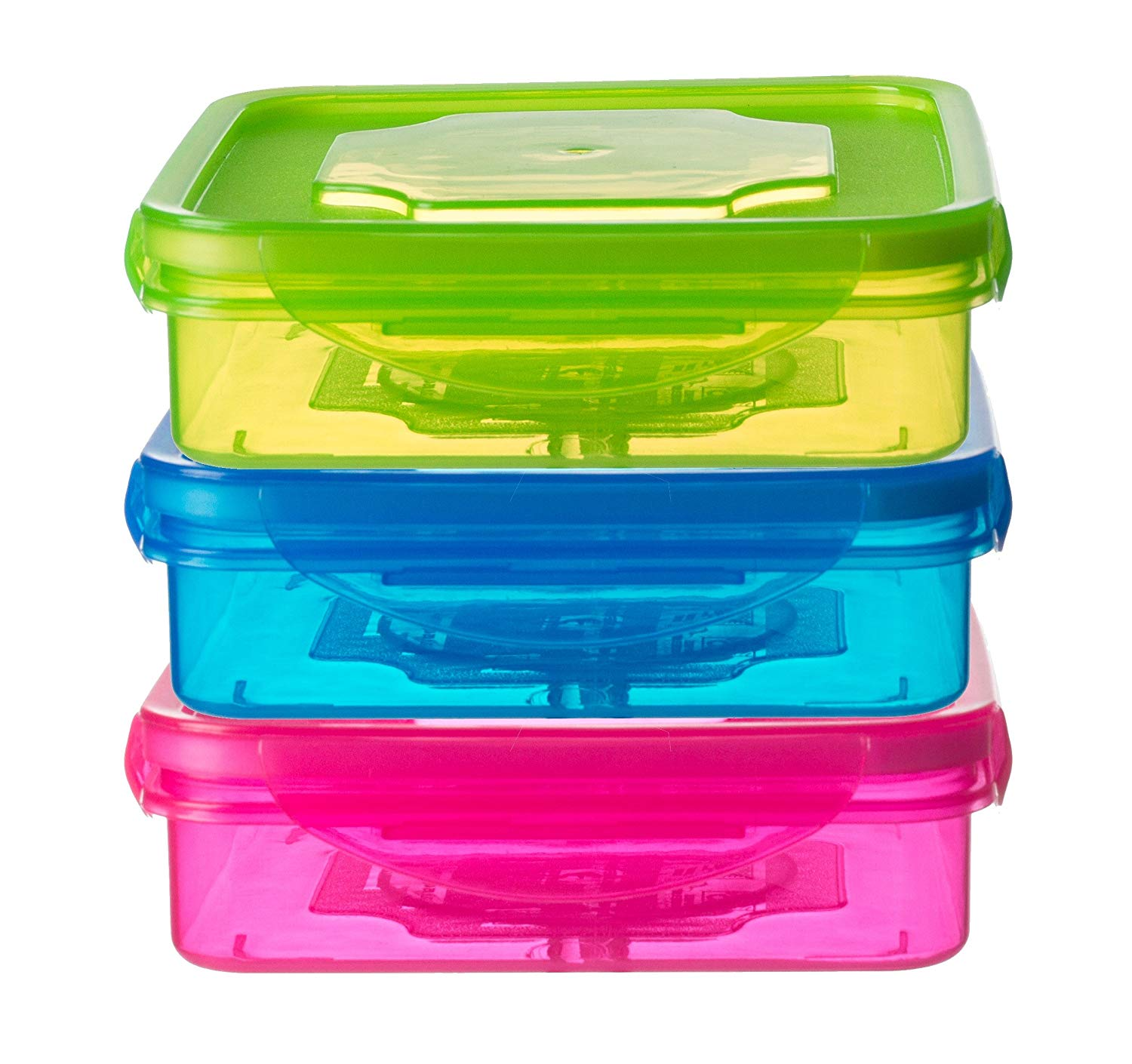 Set of 3 Sandwich Container for Lunch Boxes - Sandwich Box For Kids & Adults (Multi Color)