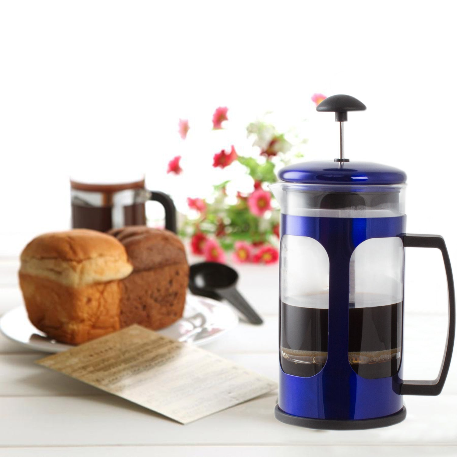 Imperial Home French Press Coffee Maker 30 Oz Chrome Coffee Press Glass (Blue)