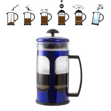 Load image into Gallery viewer, Imperial Home French Press Coffee Maker 30 Oz Chrome Coffee Press Glass (Blue)