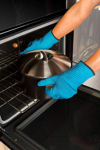 2 Pc Ultra Thick Oven Gloves - Heat Resistant Pot Holders or Safety Oven Mitts (Blue)