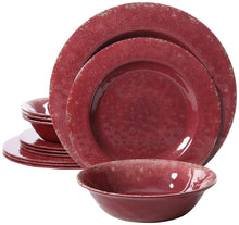 Load image into Gallery viewer, Gibson Overseas, Inc. 94904.12 Melamine Dinnerware Set 12Pc, Burgandy
