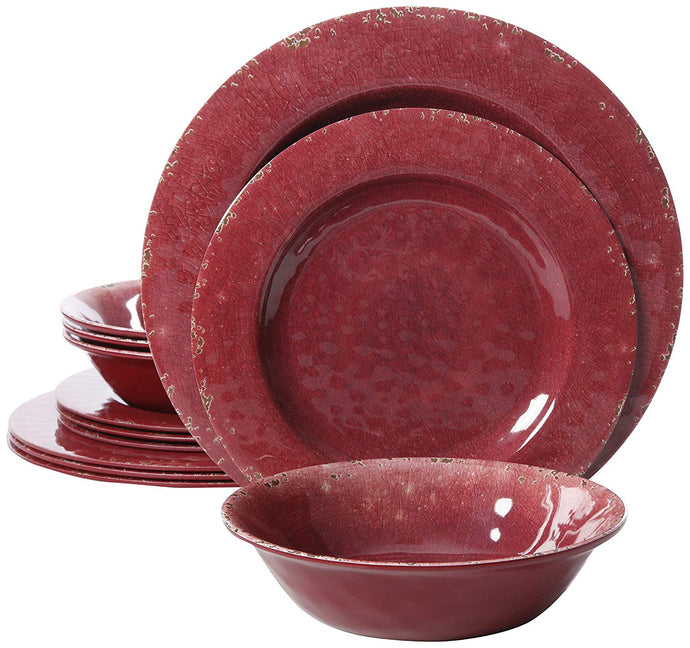 Gibson Overseas, Inc. 94904.12 Melamine Dinnerware Set 12Pc, Burgandy