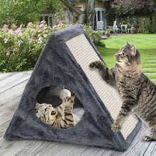 Load image into Gallery viewer, Fold Away Cat Condo with Scratching Pad - Kitty Scratcher with Tunnel