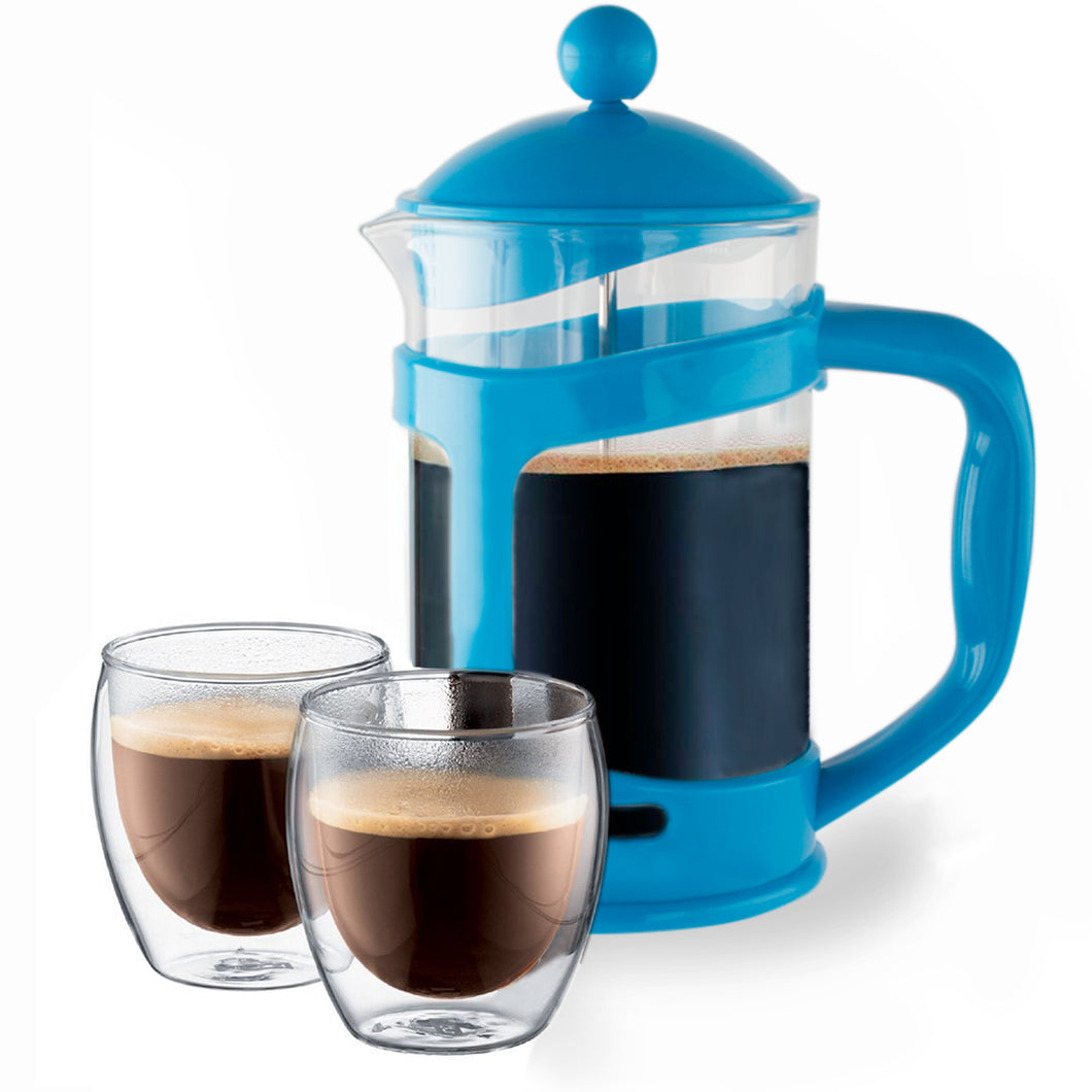 Imperial Home Colorful French Press Coffee & Tea Maker 3 Cup (28 Oz) – Borosilicate Glass Cafetiere French Coffee Maker With Mesh Filter (Blue)
