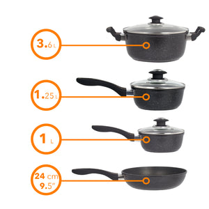 Marble 7 Pieces Aluminum Non Stick Cookware Set - Stockpot Sauce Fry Pan Set