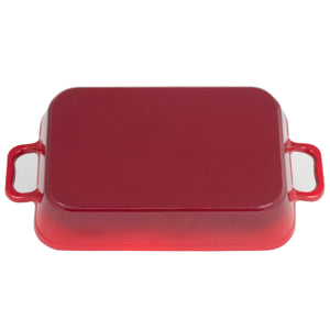 "Heavy Duty Red Enameled Cast Iron Roasting Pan 13"" X 9"" Lasagna Pan Roaster"