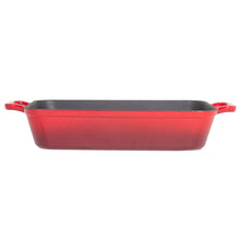 "Load image into Gallery viewer, Heavy Duty Red Enameled Cast Iron Roasting Pan 13"" X 9"" Lasagna Pan Roaster"