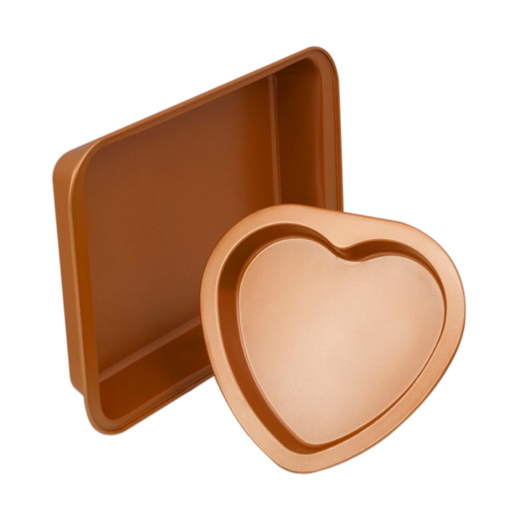 2 Cake Pan Set – Rectangle Cake Pan & Heart Cake Pan – Valentines Day Cake Pan - Copper Cake Pans Set