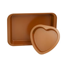 Load image into Gallery viewer, 2 Cake Pan Set – Rectangle Cake Pan & Heart Cake Pan – Valentines Day Cake Pan - Copper Cake Pans Set