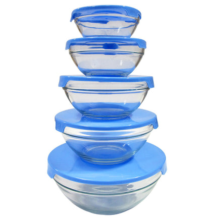 5 Pc Glass Nested Dipping/Storage Bowls with Red Lids