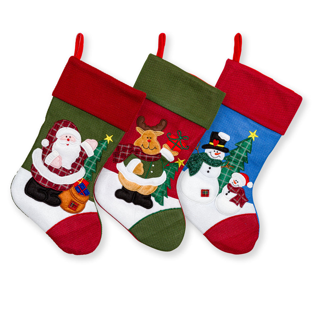 Large Embroidered Classic 3D Christmas Stockings - 18