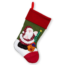 "Load image into Gallery viewer, Large Embroidered Classic 3D Christmas Stockings - 18"" Santa Toy Stockings"