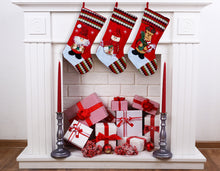 "Load image into Gallery viewer, Large Multi-Color Classic 3D Christmas Stockings - 18"" Santa Toy Stockings"