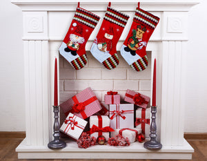 "Large Multi-Color Classic 3D Christmas Stockings - 18"" Santa Toy Stockings"