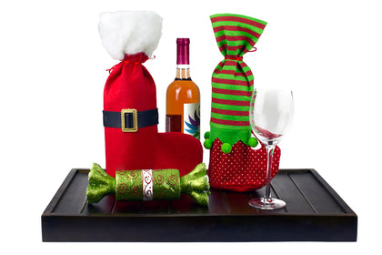 Pack of 4 Christmas Wine Bottle Holders - Elf Design