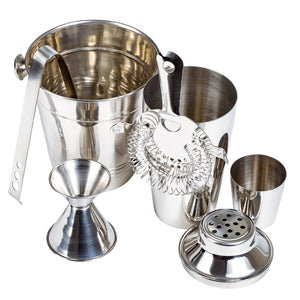 5 Pcs Stainless Steel Cocktail Shaker Bar Set With Ice Bucket, Bar Accessories - Bartending Tools Cocktail Maker