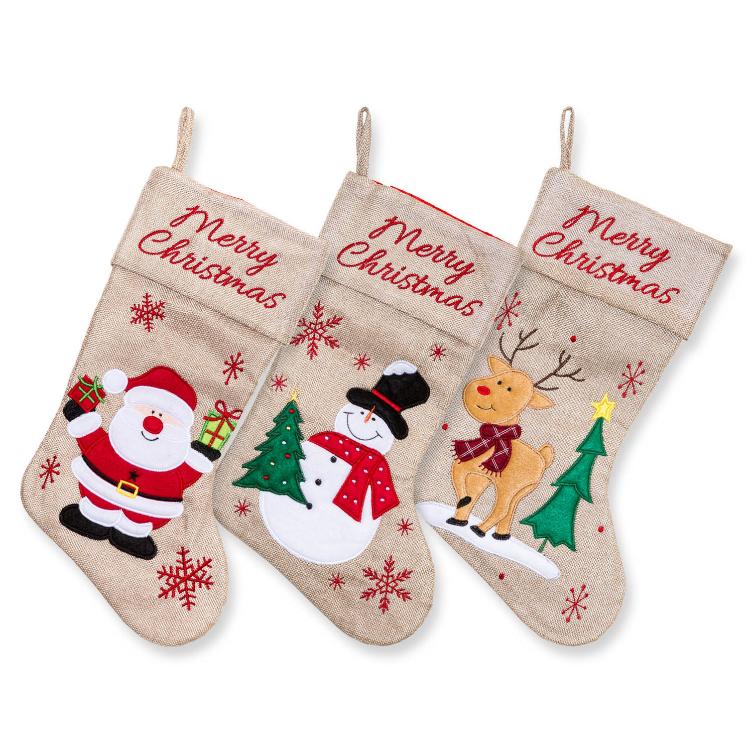 "Large Burlap Santa Classic 3D Christmas Stockings - 18"" Santa Toy Stockings"