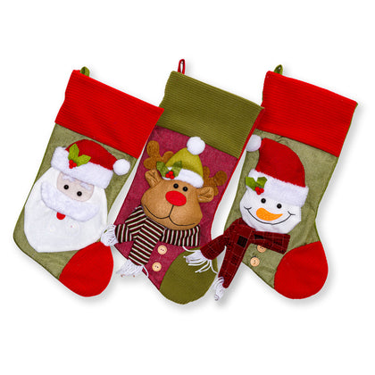Large Fleece Trim Classic 3D Christmas Stockings - 18