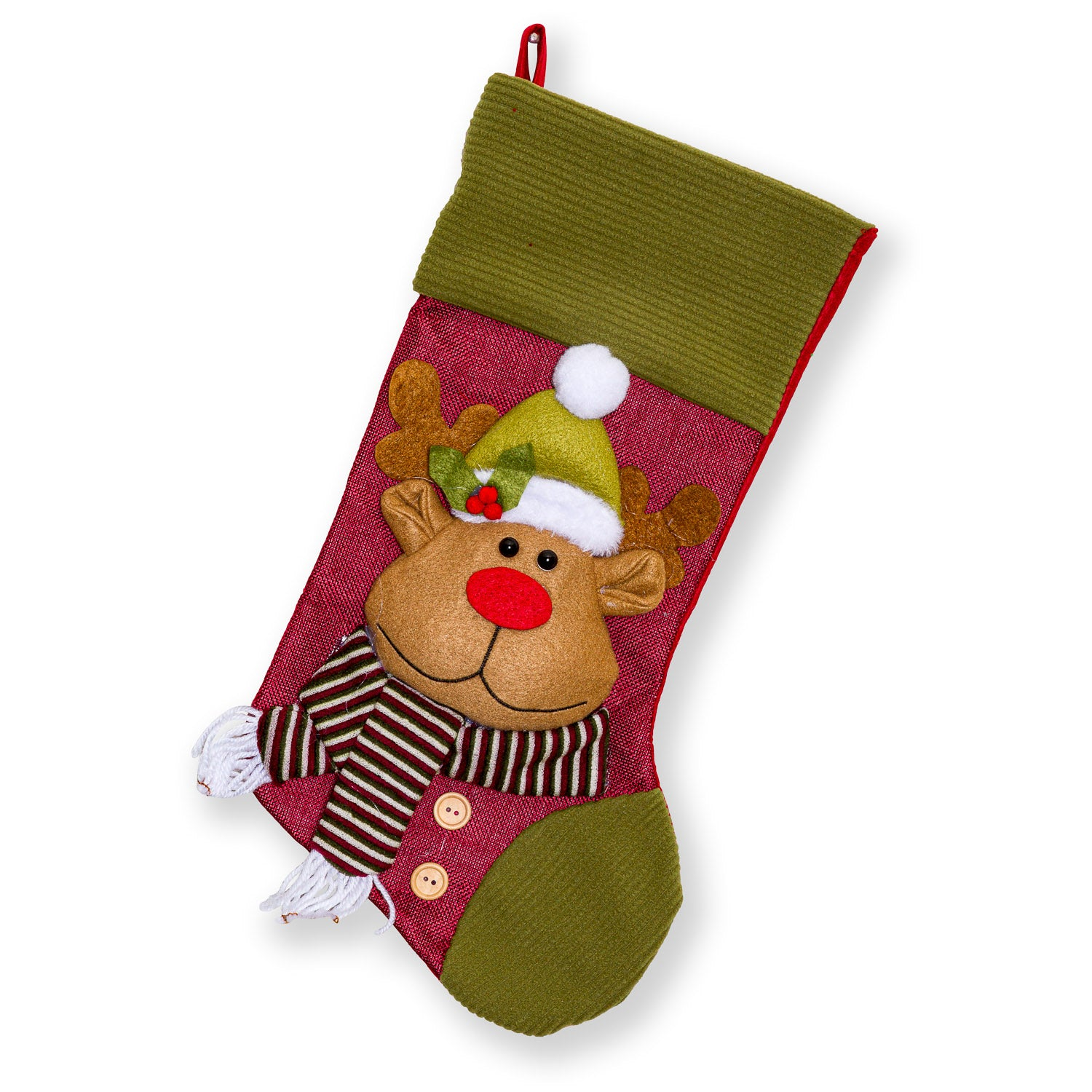 "Large Fleece Trim Classic 3D Christmas Stockings - 18"" Santa Toy Stockings"