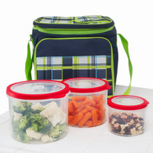 Load image into Gallery viewer, 10 Pc Grade Food Storage Containers w/ Multi Color Lids - BPA Free Lunch Leftovers Refrigerator Containers (Round Red)