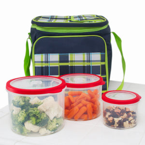 10 Pc Grade Food Storage Containers w/ Multi Color Lids - BPA Free Lunch Leftovers Refrigerator Containers (Round Red)