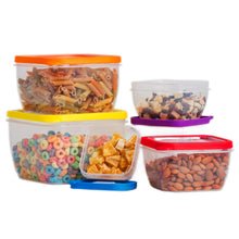 Load image into Gallery viewer, 10 Pc Grade Food Storage Containers w/ Multi Color Lids - BPA Free  (Square Multi Color)