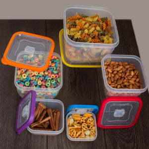 10 Pc Grade Food Storage Containers w/ Multi Color Lids - BPA Free  (Square Multi Color)